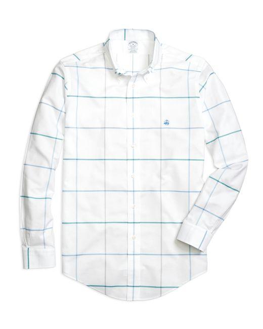 Brooks Brothers | White Non-iron Regent Fit Windowpane Sport Shirt for Men | Lyst