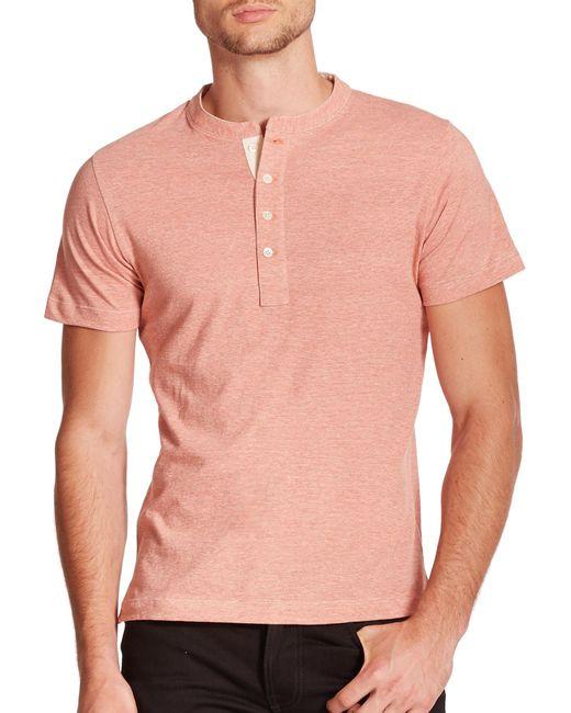 Billy Reid | Orange Pensacola Short-sleeve Henley for Men | Lyst