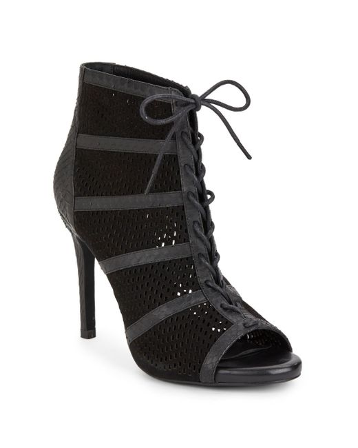 Joie | Black Shari Embossed Leather & Suede Lace-up Booties | Lyst