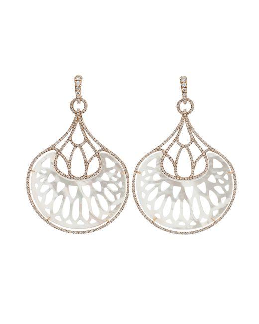 Inbar | Metallic Mother Of Pearl Fan Earrings | Lyst