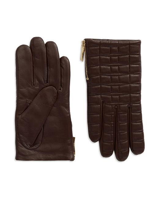 kate spade new york | Brown Quilted Leather Driving Gloves | Lyst
