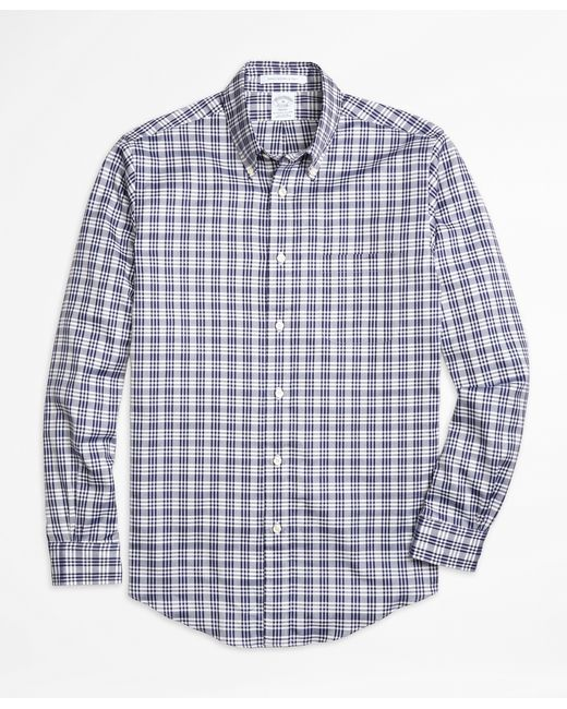 Brooks brothers regent fit plaid sport shirt in blue for for Brooks brothers tall shirts