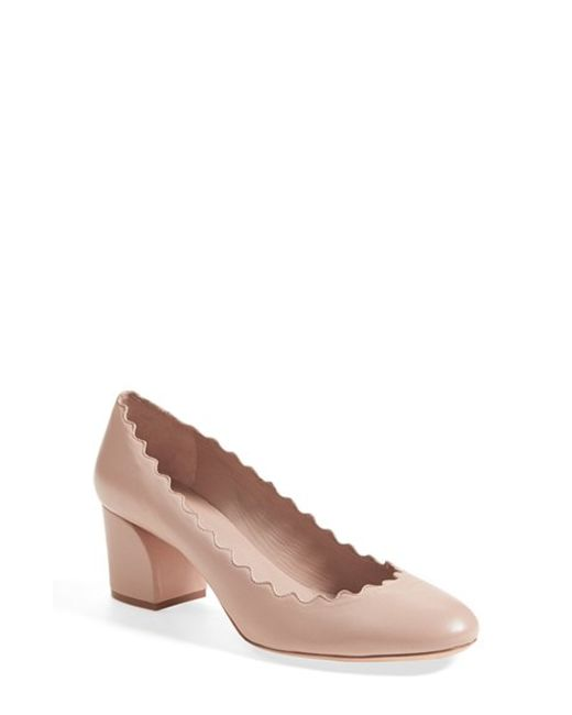 Chloé | Pink 'lauren' Scalloped Pump | Lyst