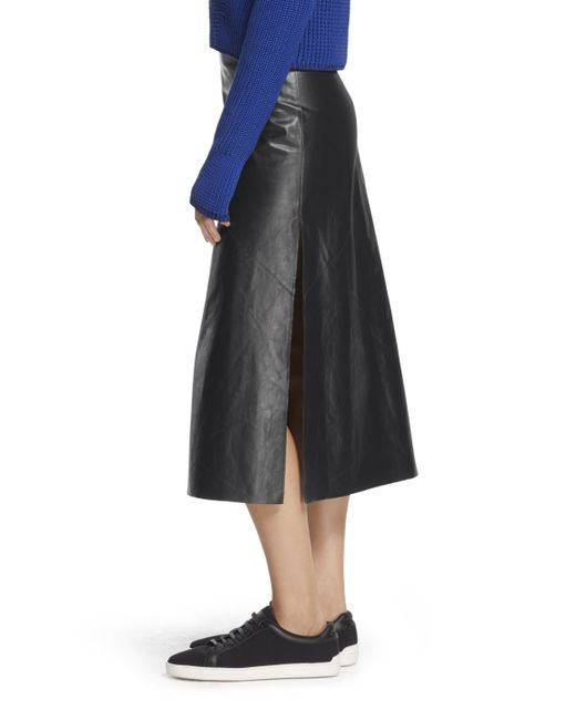 rag bone leather willow skirt in black salute save