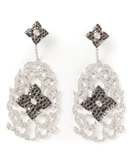 Elise Dray | White Diamond Floral Pavé Earrings | Lyst