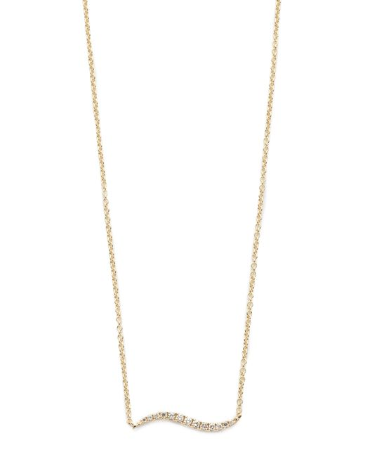 EF Collection   Metallic Diamond & 14k Yellow Gold Wave Pendant Necklace   Lyst