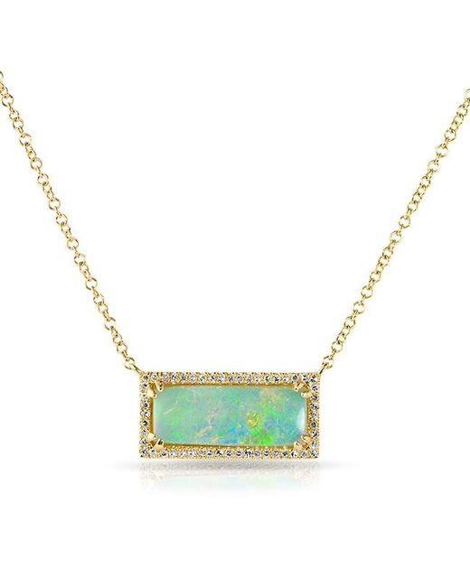 Anne Sisteron | 14kt Yellow Gold Green Opal Diamond Block Necklace | Lyst