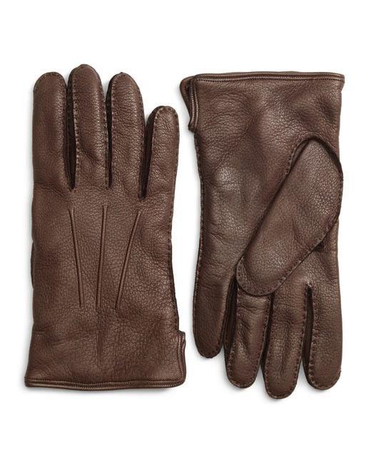 Brooks Brothers | Brown Deerskin Cashmere Lined Gloves for Men | Lyst
