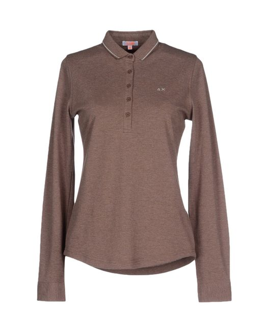 Sun 68 polo shirt in brown light brown save 52 lyst for Light brown polo shirt