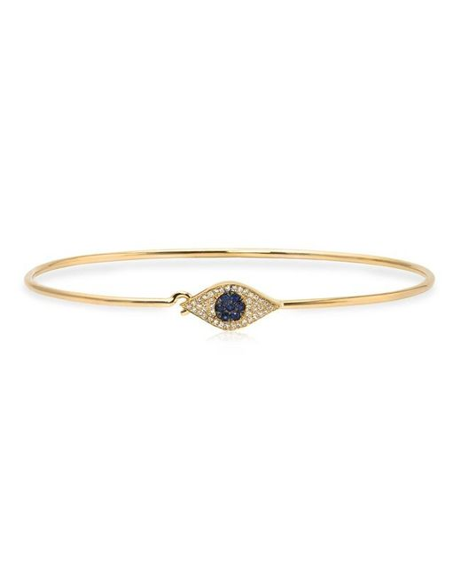 Anne Sisteron | Metallic 14kt Yellow Gold Sapphire And Diamond Evil Eye Latch Bracelet | Lyst