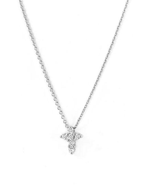 Roberto Coin | White 'tiny Treasures' Diamond Cross Pendant Necklace | Lyst