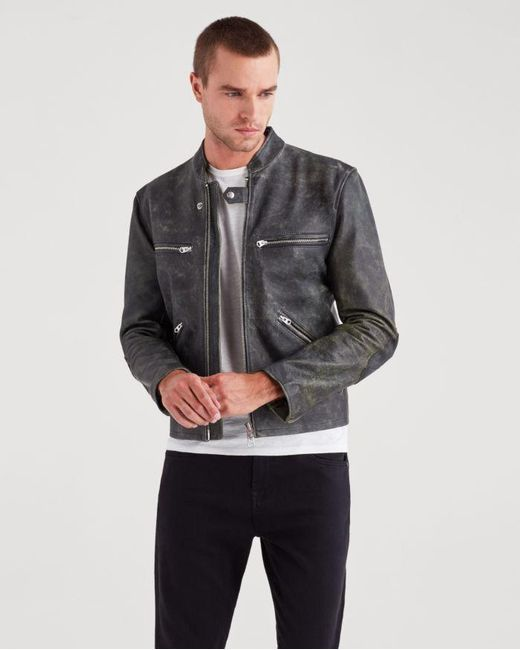 7 For All Mankind - Café Racer Jacket In Black With Natural Ground for Men - Lyst
