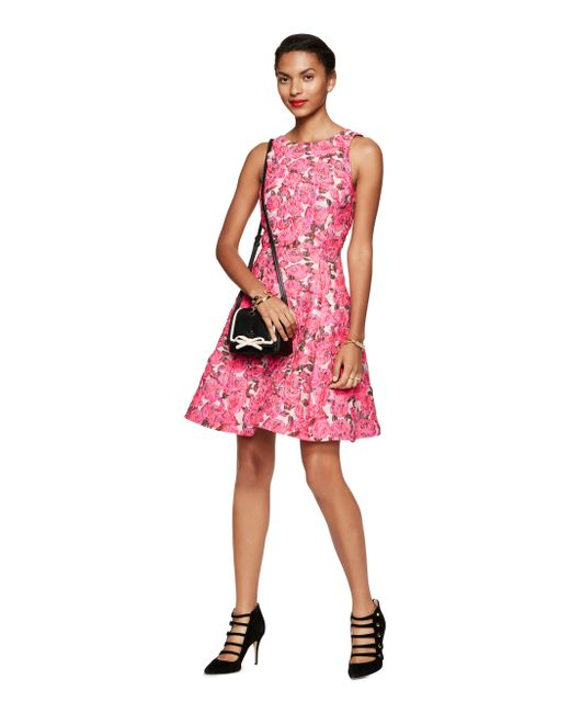 Kate Spade | Pink Rose Brocade Open Back Dress | Lyst