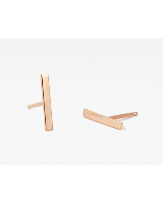 Vrai & Oro | Pink Line Stud Earrings | Lyst