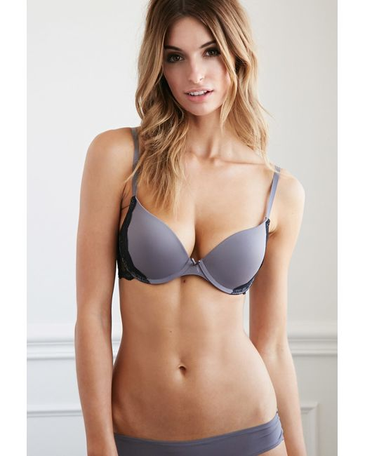 Forever 21 | Metallic Lace-trim Push-up Bra | Lyst