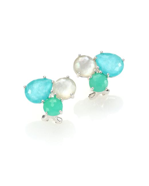 Ippolita | Blue Rock Candy Chrysoprase, Green Turquoise, Mother-of-pearl & Sterling Silver Cluster Earrings | Lyst