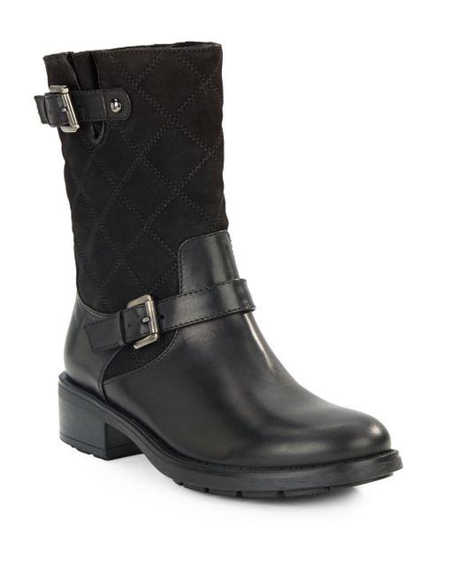 Aquatalia   Black Sherry Mid-calf Leather Moto Boots   Lyst
