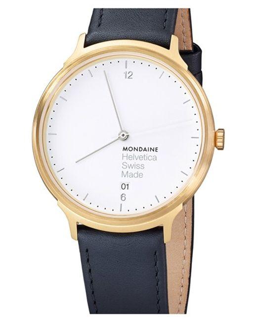 Mondaine | Black 'helvetica No.1 Light' Round Leather Strap Watch | Lyst