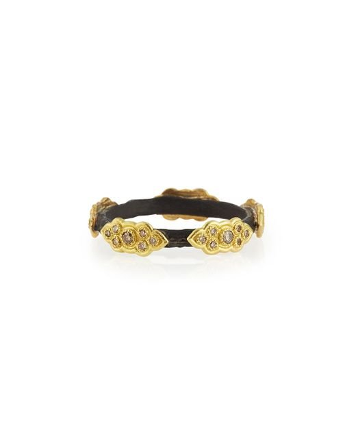 Armenta | Metallic Champagne Diamond And Scroll Stackable Ring | Lyst