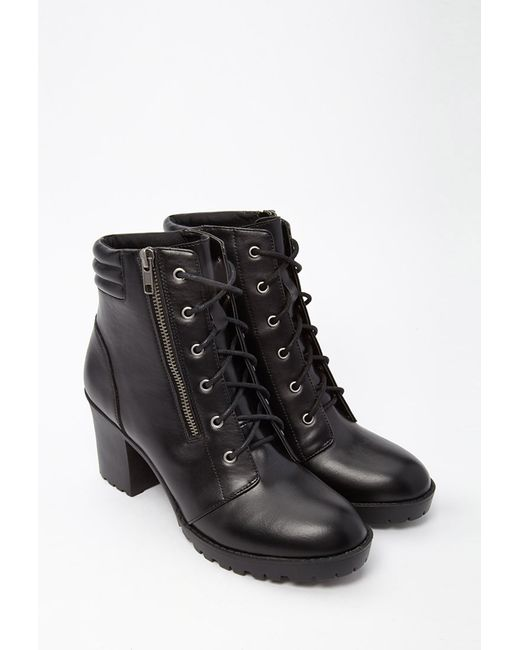 Forever 21 | Black Faux Leather Combat Boots | Lyst