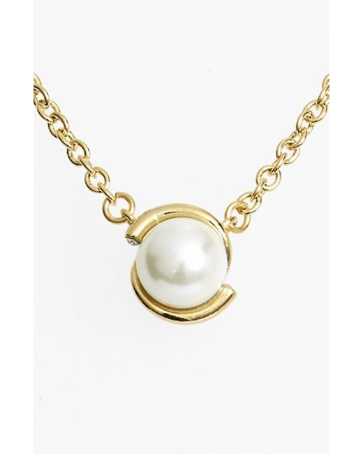 Kate Spade | Metallic 'dainty Sparklers' Faux Pearl Pendant Necklace | Lyst