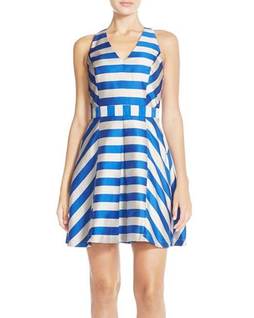 Adelyn Rae | Blue Stripe Cross Back Fit & Flare Dress | Lyst