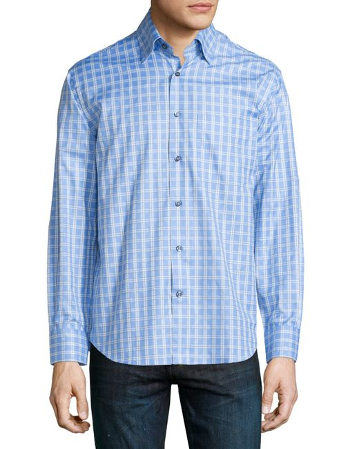 Robert talbott grid print woven dress shirt in blue for for Robert talbott shirts sale