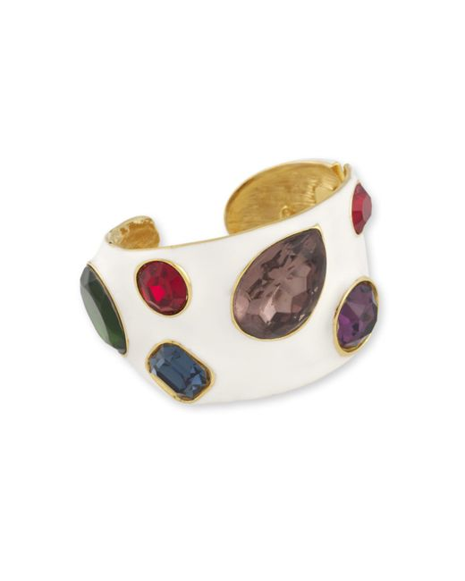 Kenneth Jay Lane | White Enamel & Multi-color Cuff | Lyst