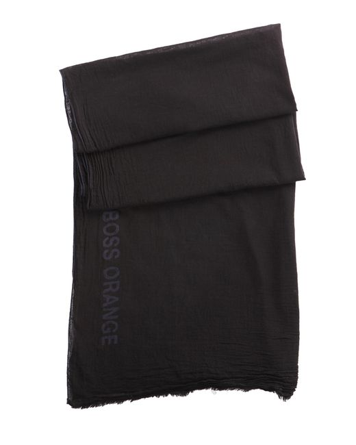 BOSS Orange | Black Cotton Scarf 'nuot-5' for Men | Lyst