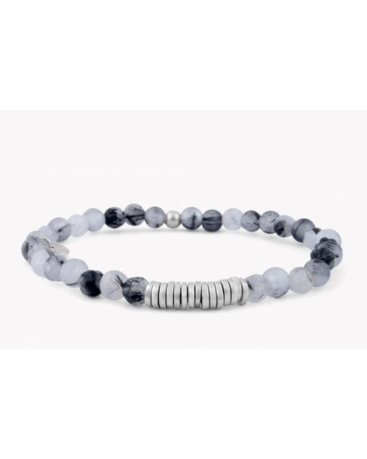Tateossian | Disc Round Black Rutilated Quartz Beaded Bracelet With Silver Spacer Discs for Men | Lyst
