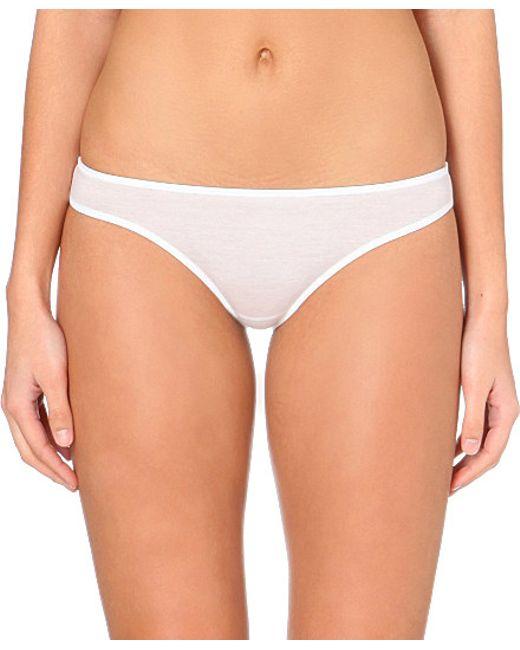 Hanro | White Ultralight Cotton-jersey Mini Briefs | Lyst