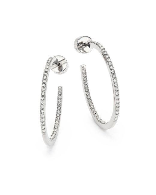 Michael Kors | Metallic Brilliance Statement Pave Silvertone Inside-outside Hoop Earrings/1 | Lyst
