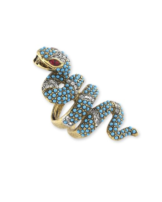 Kenneth Jay Lane | Blue Turquoise And Crystal Snake Ring | Lyst