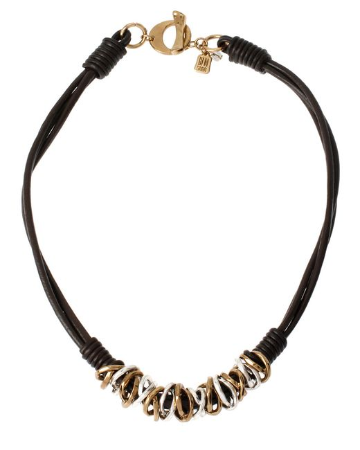 Robert Lee Morris | Black Atlantis Two-tone Ring And Leather Necklace | Lyst