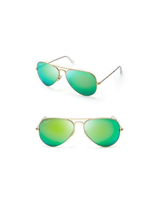 Ray-Ban | Green 58mm Large Polar Flash Aviator Sunglasses | Lyst