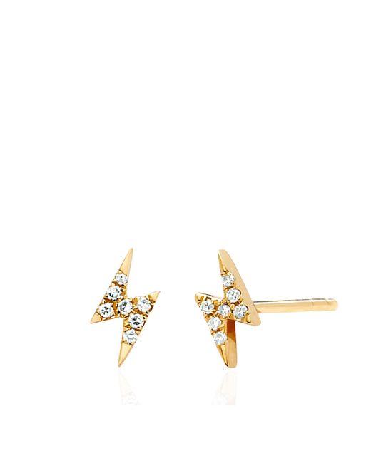 EF Collection | Metallic Diamond Mini Lightening Bolt Earrings | Lyst
