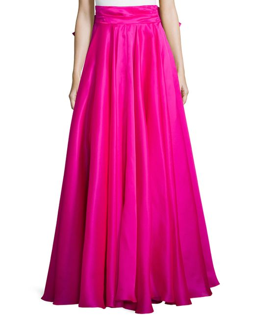 MILLY   Pink Bow-back Silk Maxi Skirt   Lyst