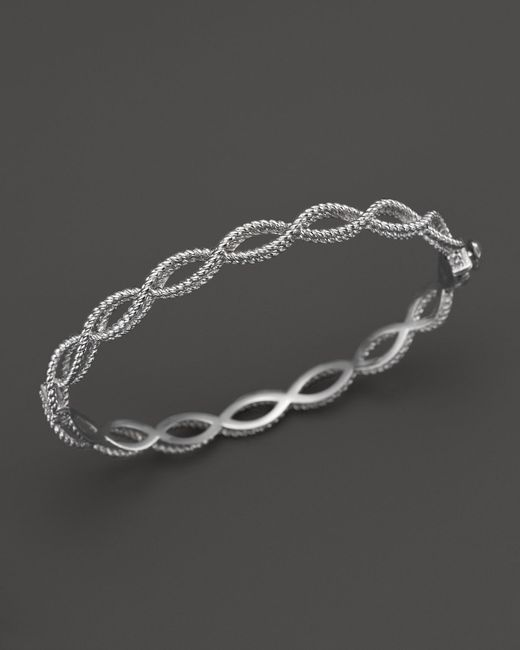 Roberto Coin | 18k White Gold Single Row Twisted Bangle | Lyst
