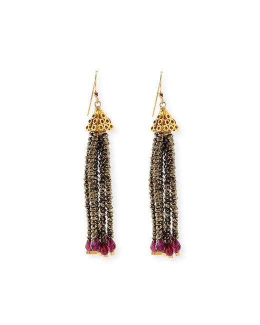 Dina Mackney Pyrite And Garnet Fringe Earrings In Red