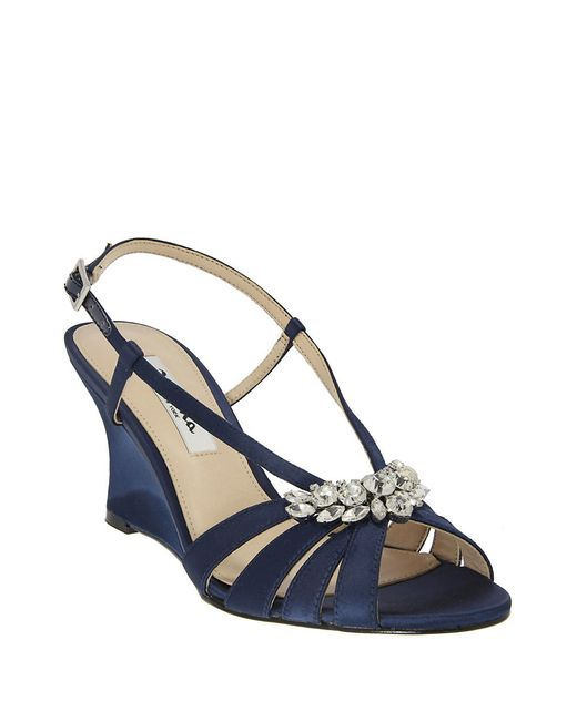 viani satin wedge sandals in blue navy blue lyst