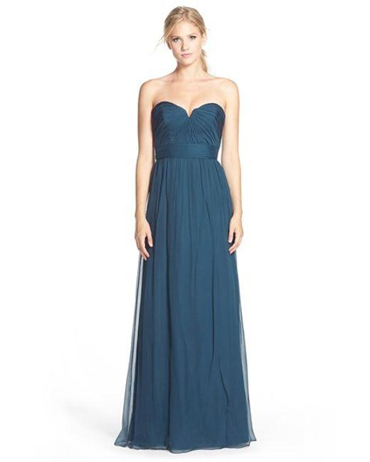 Amsale   Blue Strapless Silk Chiffon Gown   Lyst