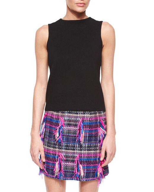 MILLY | Black Sleeveless Jersey Sweater | Lyst