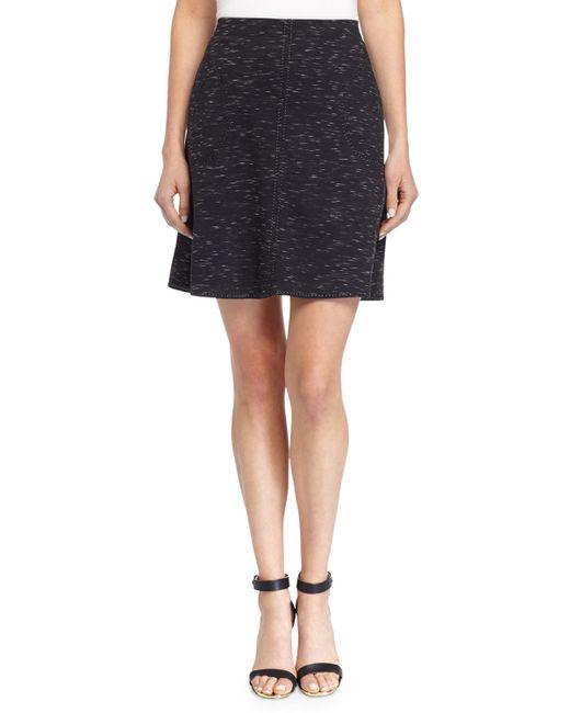 max studio ponte knit skirt w tonal stitching in black