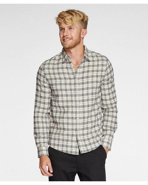 Threads for thought no pocket flannel shirt in white for for White flannel shirt mens