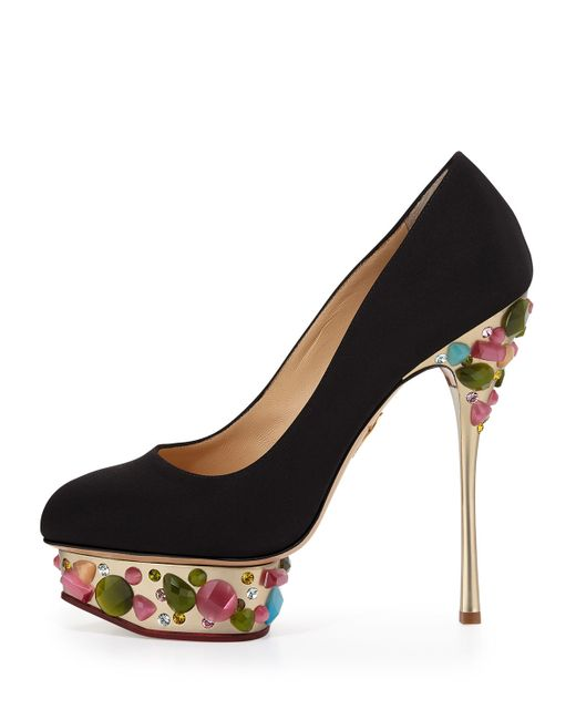 Charlotte Olympia   Black Dolly On-The-Rocks Embellished Pumps   Lyst