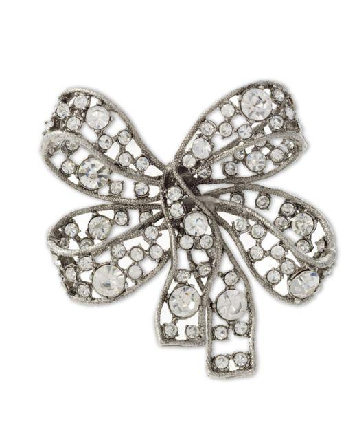Kenneth Jay Lane | Metallic Light Antique Silver Crystal Bow Brooch | Lyst