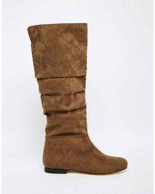 asos collaborate knee high flat slouch boots in brown