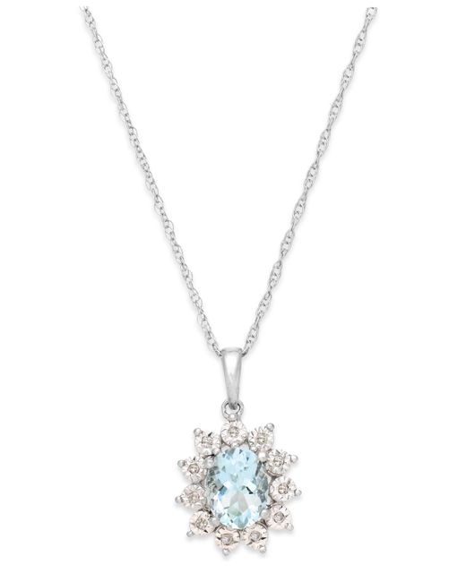 Macy's | Blue Aquamarine (1 Ct. T.w.) And Diamond Accent Pendant Necklace In 14k White Gold | Lyst