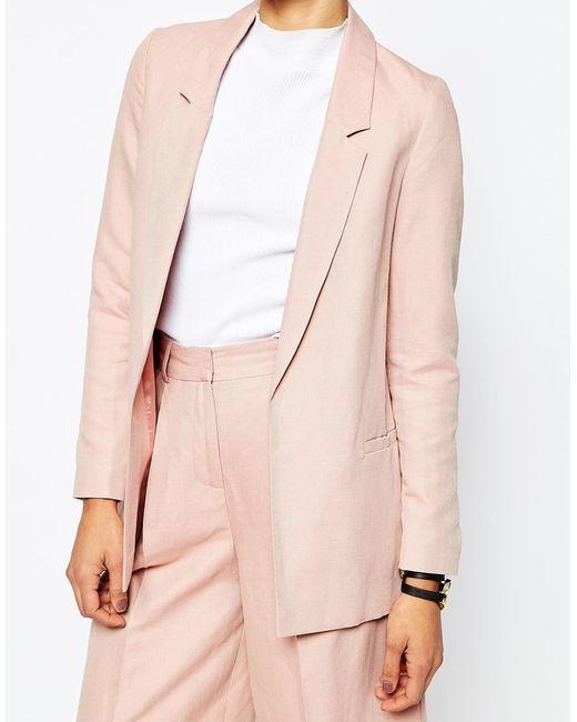 Asos Premium Linen Clean Suit Blazer in Pink