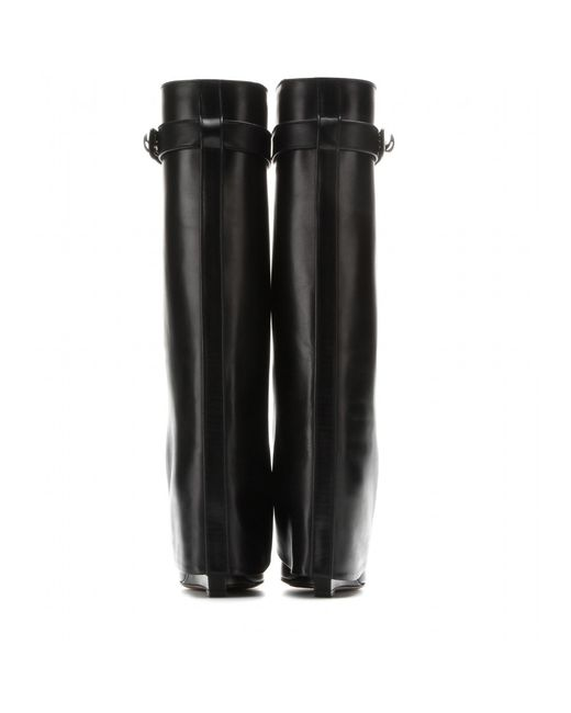 Givenchy   Black Leather Wedge Boots   Lyst